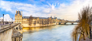 Seine Digital Art - Winter at the Louvre in Paris by Mark E Tisdale