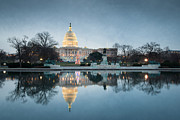 National Mall Posters - Winter at the United States Capitol Building Poster by Mark VanDyke