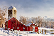 New England Snow Scene Digital Art Posters - Winter Barn Poster by Bill  Wakeley
