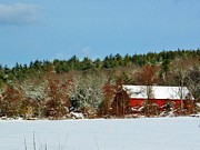 Red Barn. New England Prints - Winter Barn Print by CJ Rhilinger