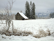 North Idaho Framed Prints - Winter Barn Framed Print by Idaho Scenic Images Linda Lantzy