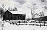 Landscapes Posters - Winter Barn impasto version Poster by Steve Harrington
