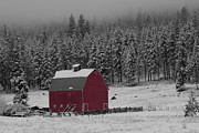Mark Kiver Prints - Winter Barn in Red Print by Mark Kiver