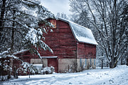Farm Building Posters - Winter Barn Poster by Lauri Novak