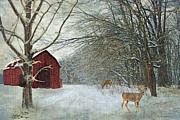 Christmas Greeting Posters - Winter Barn Poster by Lianne Schneider