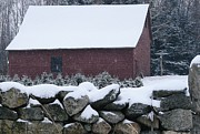 Barn Covered In Snow Framed Prints - Winter barn Framed Print by Mia Capretta