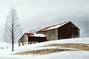 Realistic Landscape Paintings - Winter Barn by Michael Swanson