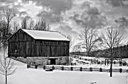 Ontario Landscape Print Posters - Winter Barn monochrome Poster by Steve Harrington