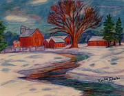 Barn Drawing Posters - Winter Barn Scene Poster by Kendall Kessler