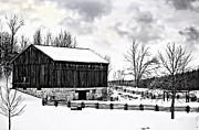 Landscapes Digital Art - Winter Barn by Steve Harrington