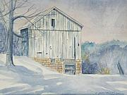 Winter Scene  For Sale Paintings - Winter Barn watercolor painting for sale by Diane Jorstad