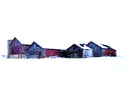 Barns Metal Prints - Winter Barns Metal Print by Jeff Klingler