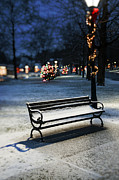 New England Village  Framed Prints - Winter Bench - Christmas theme Framed Print by Thomas Schoeller