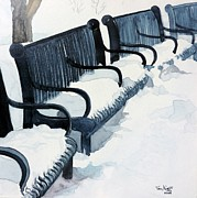 Park Benches Paintings - Winter Benches by Tom Riggs
