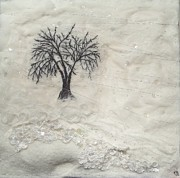 Featured Tapestries - Textiles Originals - Winter Birch Art Quilt by Pam Reed