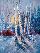 Snowy Night Posters - Winter Birch Trees Poster by Holly LaDue Ulrich