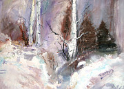 New England Snow Scene Painting Posters - Winter Birches Poster by Barbara Cole