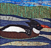 Animal Tapestries - Textiles Metal Prints - Winter Bird Metal Print by Susan Macomson