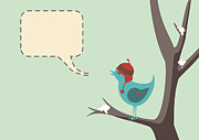 Speech Balloon Prints - Winter Bird Print by Tim Hester