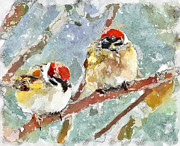 Sightseeing Digital Art - Winter Birds Watercolor Digital by Yury Malkov