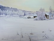 Shed Painting Prints - Winter Blanket Print by Martin Howard