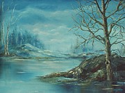 Peaceful Scene Paintings - Winter Blue by Mary Wolf