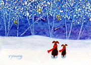 Snowy Night Painting Posters - Winter Blue Poster by Todd Young