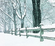 Split Rail Fence Photo Prints - Winter Blues Print by John Stephens
