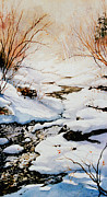 Snowy Stream Paintings - Winter Break by Hanne Lore Koehler