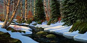 Snowy Brook Paintings - Winter Brook by Frank Wilson