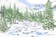 Fir Trees Drawings Prints - Winter Brook Print by Jim Hubbard