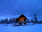Snowy Night Night Photo Prints - Winter Cabin Print by Lane Erickson