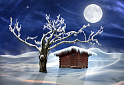 Nature Scene With Moon Digital Art Posters - Winter Cabin Poster by Nina Bradica