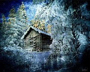 Cabin Mixed Media Acrylic Prints - Winter Cabin  Acrylic Print by Sheena Pike