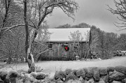 Shed Digital Art Prints - Winter Cabin Print by Tricia Marchlik