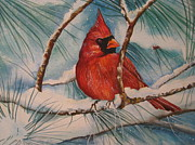Cheryl Borchert Posters - Winter Cardinal Poster by Cheryl Borchert