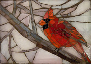 Wildlife Glass Art Originals - Winter Cardinal by Julie Mazzoni