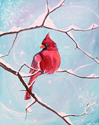 January Paintings - Winter cardinal by Kelci Pauk