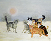Winter Landscapes Prints - Winter Cats Print by Ditz