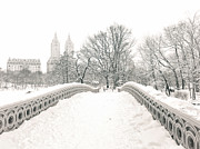 Nyc Photo Framed Prints - Winter - Central Park - Bow Bridge - New York City Framed Print by Vivienne Gucwa