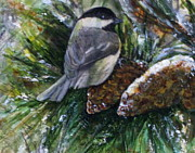 Snow Scene Mixed Media Prints - Winter Chickadee Print by Katey Sandy