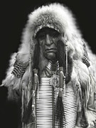 Americans Mixed Media - Winter Chief B W by Daniel Hagerman