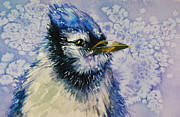 Bluejay Painting Metal Prints - Winter Chill Metal Print by Donna Pierce-Clark
