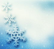 Snowflake Art - Winter Christmas background with big snowflakes by Michal Bednarek