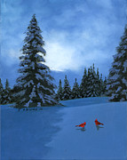 Snowy Night Painting Metal Prints - Winter Christmas Card 2012 Metal Print by Cecilia  Brendel