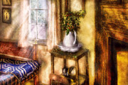 Curtain Digital Art Prints - Winter - Christmas - Early Christmas Morning Print by Mike Savad
