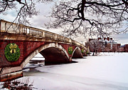Charles River Paintings - Winter Christmas on the Charles River Boston by Elaine Plesser