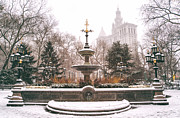 Nyc Photo Framed Prints - Winter - City Hall Fountain - New York City Framed Print by Vivienne Gucwa