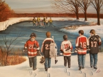 Hockey Player Painting Originals - Winter Classic - 2010 by Ron  Genest