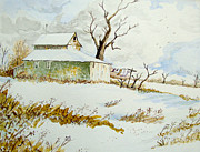 Snowscape Paintings - Winter Clothes Line by Linda Williams